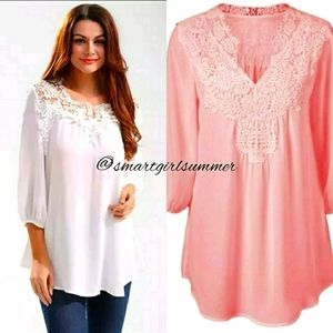 🆕⭐ Plus available Peachy pink chiffon crochet top